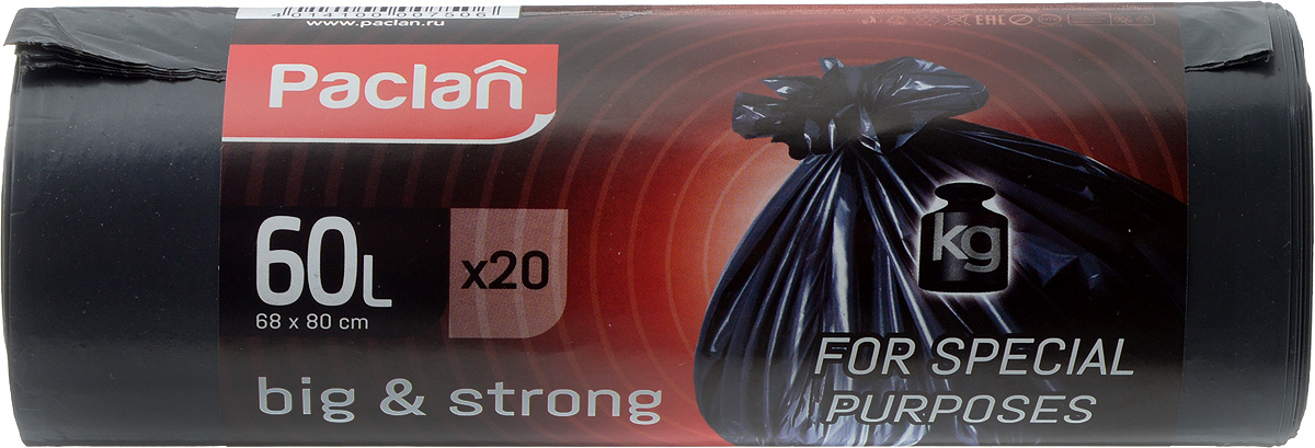 Пакеты для мусора Paclan Big & Strong, 60 л, 20 шт пакет paclan для приготовленияльда шарики