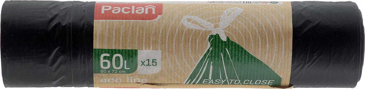 Пакеты для мусора Paclan Eco Line, с завязками, 60 л, 15 шт пакет paclan для приготовленияльда шарики
