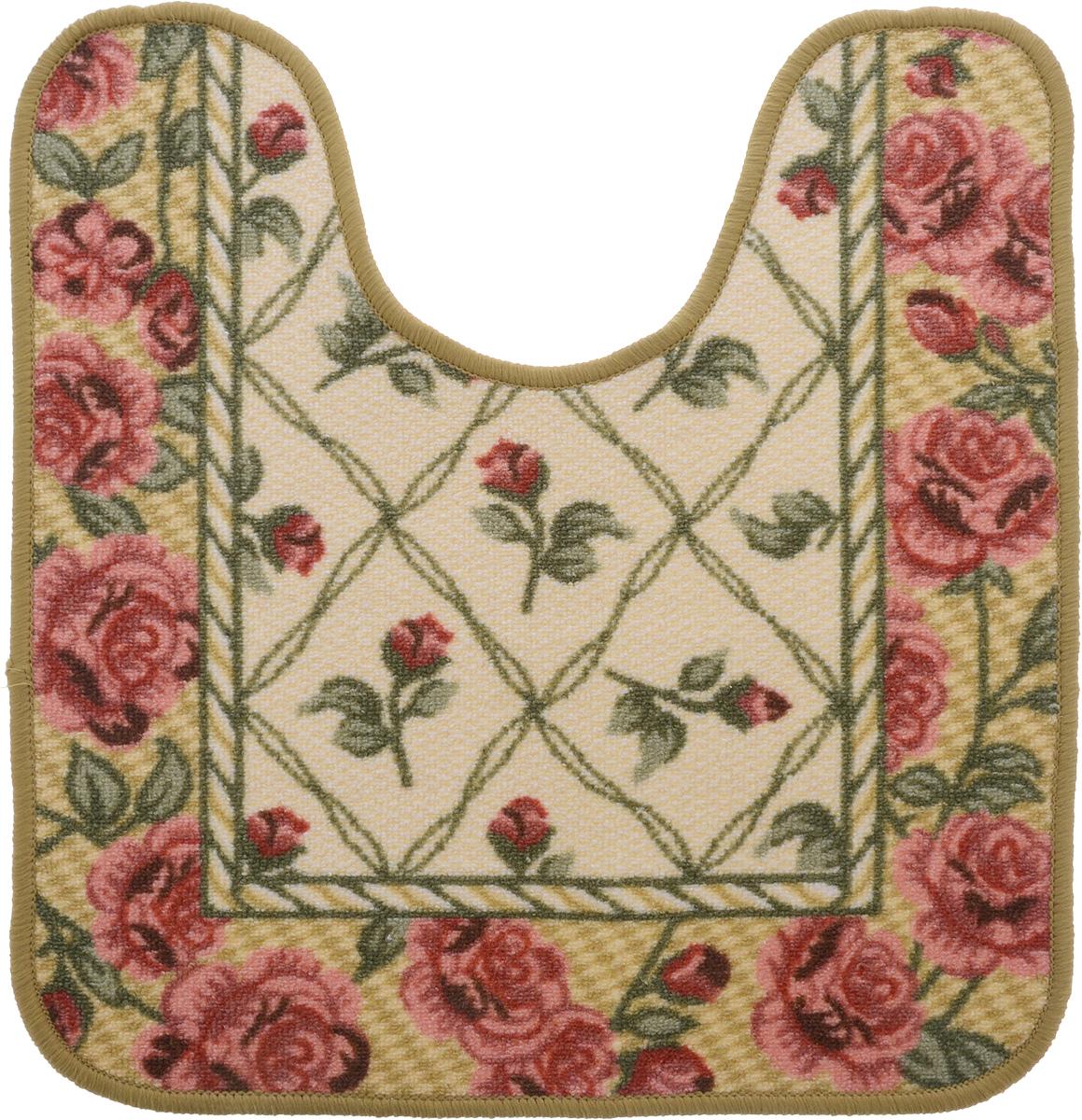Коврик для ванной MAC Carpet Розетта, цвет: коричневый, розовый, 57 х 60 см коврик для ванной mac carpet розетта цвет коричневый розовый 57 х 60 см