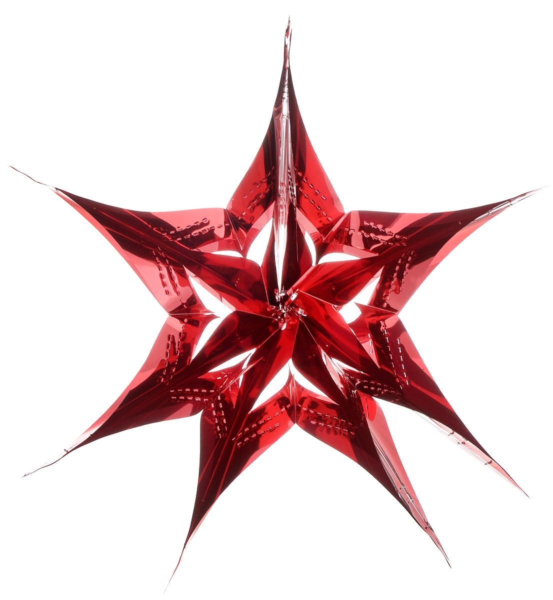 Украшение новогоднее подвесное Winter Wings Звезда, цвет: красный, диаметр 30 см украшение новогоднее оконное winter wings новогодние герои 5 шт n09356 ангелы