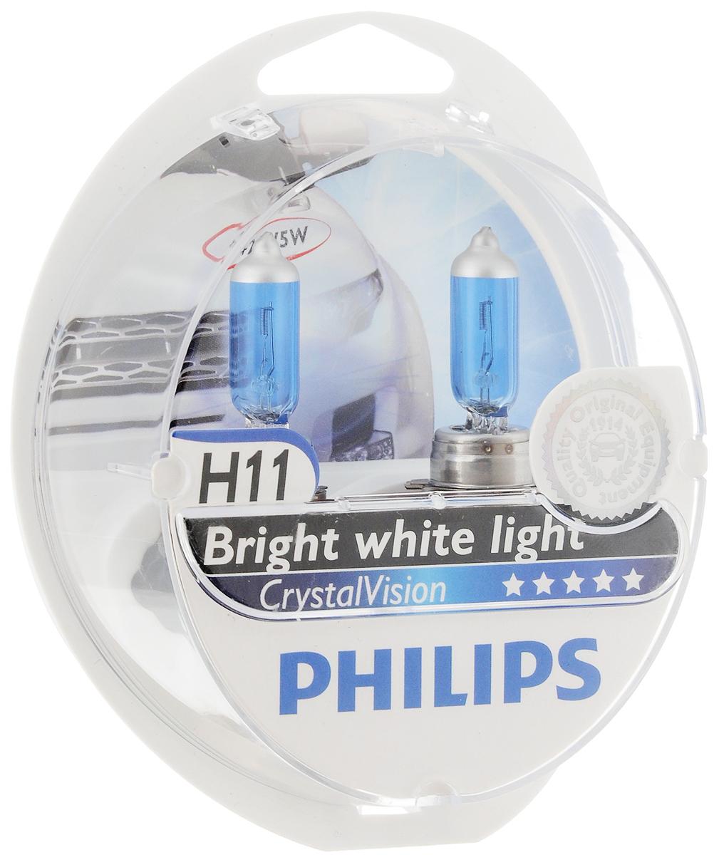 """Лампа автомобильная галогенная Philips """"CrystalVision"""", для фар, цоколь H11 (PGJ19-2), 12V, 55W + цоколь W5W, 12V, 5W, 2 шт"""