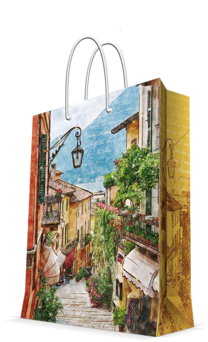 Пакет подарочный Magic Home Итальянский дворик, 26 х 32,4 х 12,7 см пакет подарочный а4 26 32 12 7см новогодние часыбумажный с ламинацией 140 г м2 75312