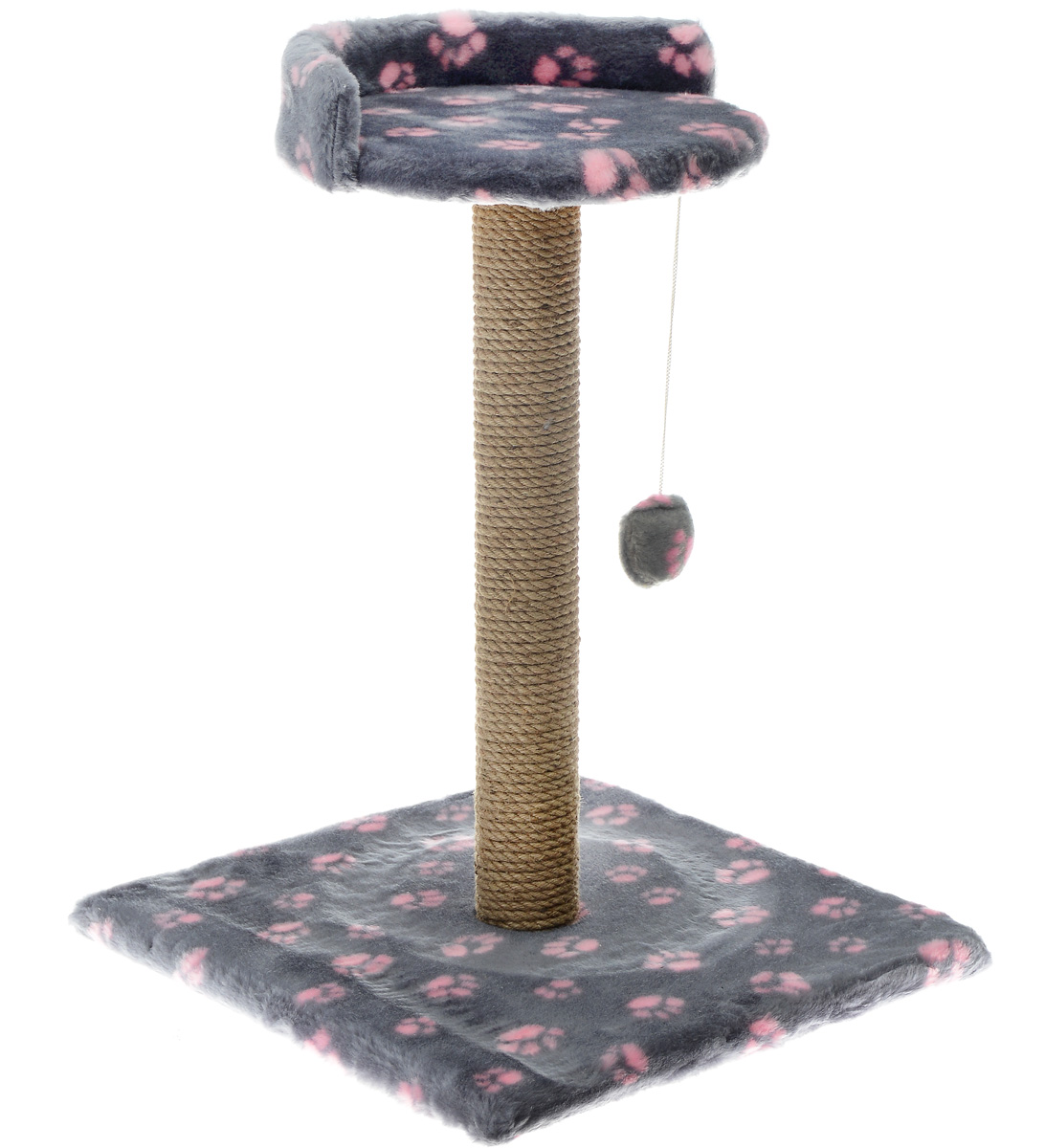 "Когтеточка Меридиан ""Арена"", цвет: темно-серый, розовый, 41 х 41 х 59 см"