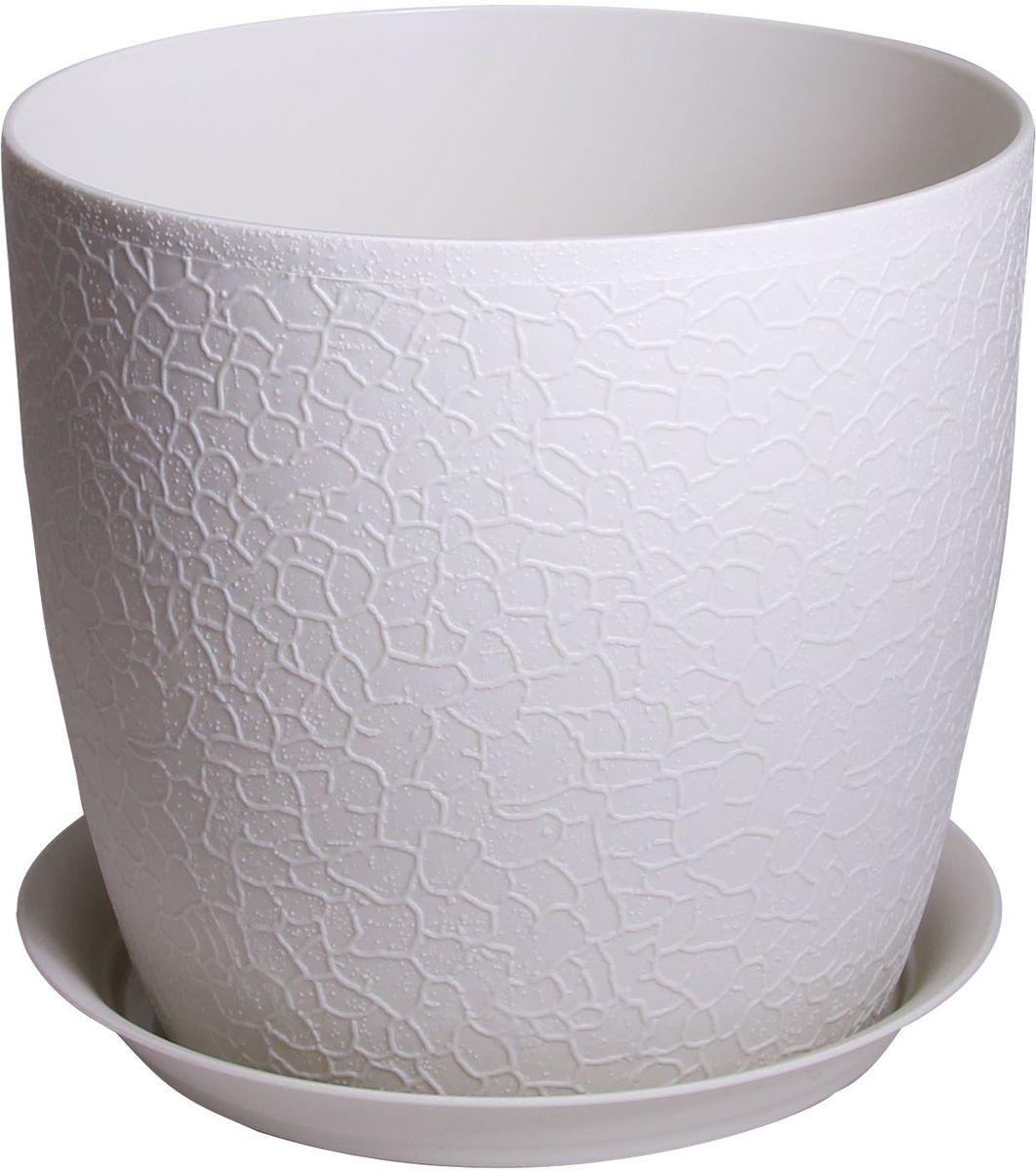 Кашпо Idea Верона, с подставкой, цвет: белый ротанг, диаметр 18 см кашпо idea верона с подставкой цвет белый диаметр 18 см