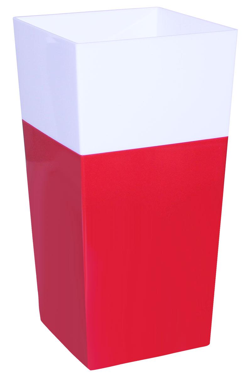 Кашпо Idea Дуал, цвет: красный, 14 х 14 х 26 см кашпо для домашних растений umbra giardino цвет белый 34 х 16 х 34 см