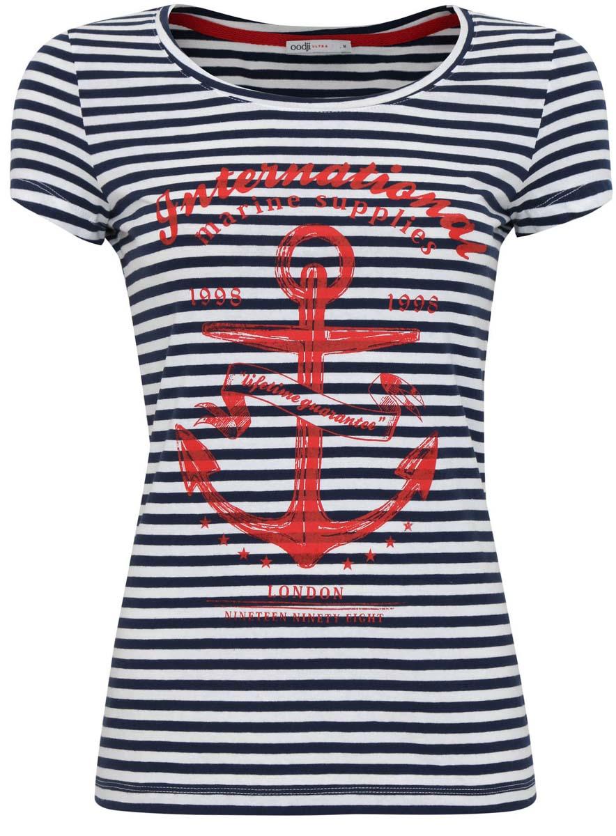 Футболка oodji футболка женская oodji collection цвет темно синий белый 24708006 16651 7912f размер xs 42