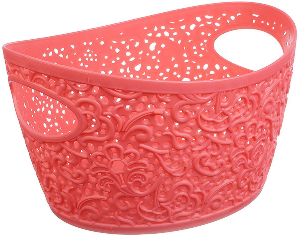 Корзина для рукоделия Idea Кружево, цвет: коралловый, 23 х 18,5 х 13 см корзина для хранения арт студия решетняк винтаж средняя 15 х 12 см