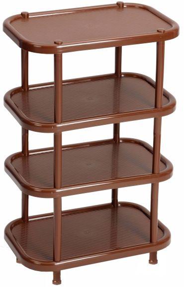Этажерка для обуви Idea, 4-секционная, цвет: коричневый, 30,7 х 49,2 х 53 см этажерка для обуви idea универсал 3 х секционная цвет коричневый 48 х 30 х 51 см