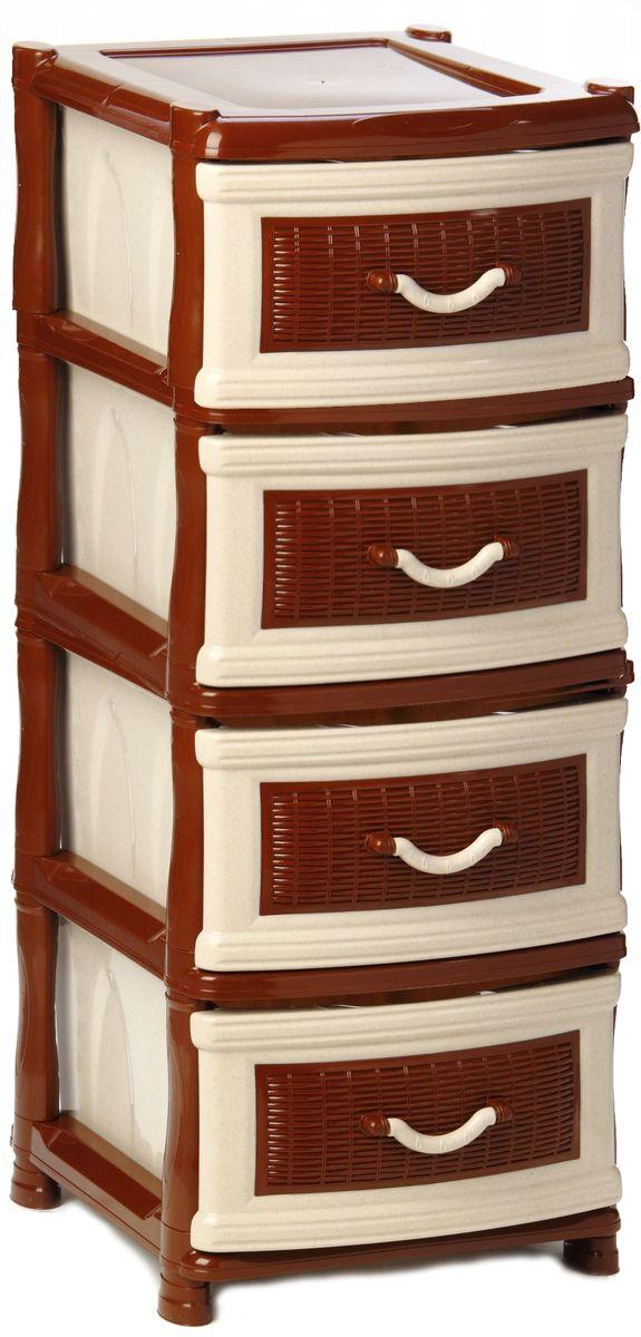 Комод Idea Куба, цвет: бежевый мрамор, коричневый, 50,5 х 40,5 х 96 см, 4 секции the idea комод буфет thimon