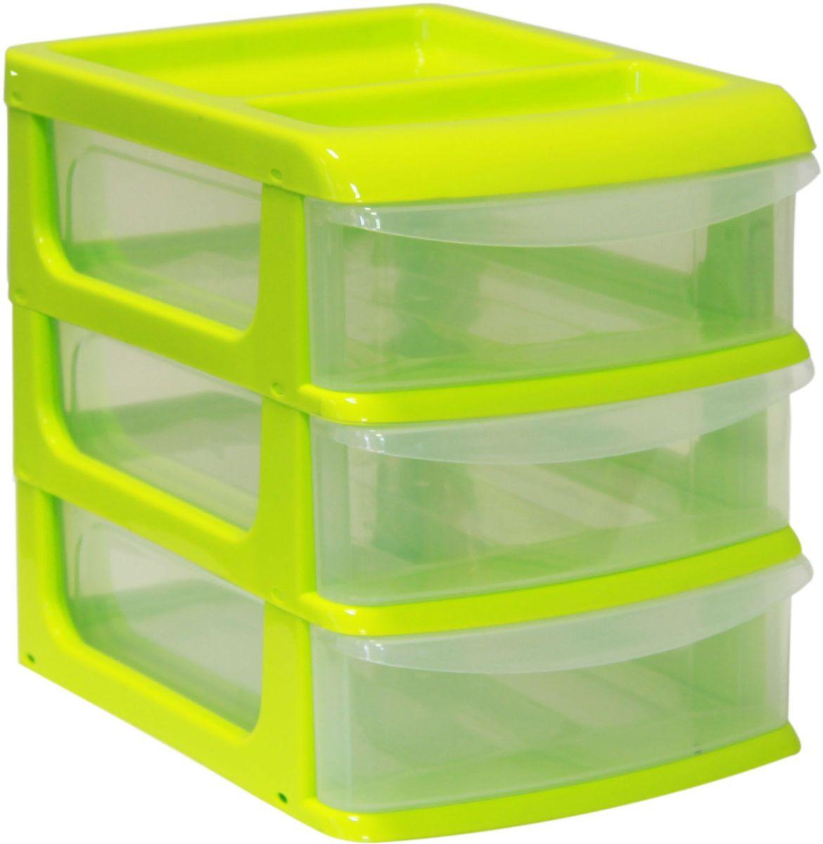 Бокс универсальный Idea, цвет: салатовый, прозрачный, 25 х 34 х 28 см, 3 секции органайзер кухонный idea цвет салатовый 19 х 25 х 14 5 см