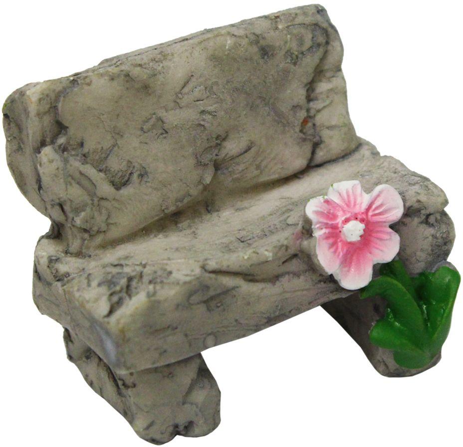 Декоративное украшение-миниатюра Астра Скамейка с цветком, 3,8 х 2,5 3 см