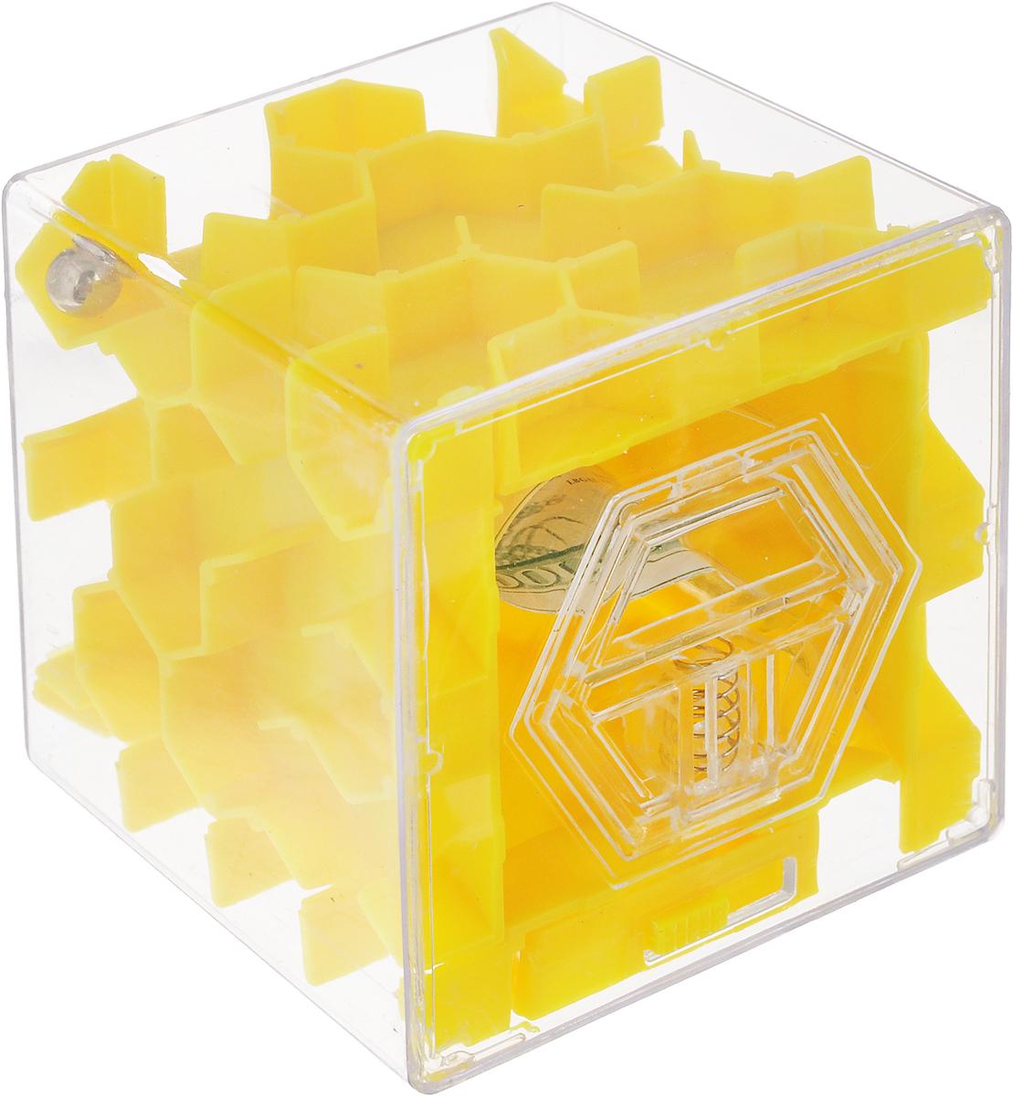 Копилка-головоломка Эврика Лабиринт, цвет: желтый головоломка эврика лабиринт сфера red 98723