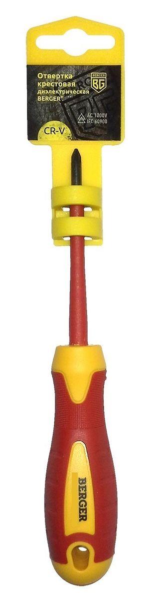 Отвертка крестовая Berger, диэлектрическая, PH1 x 80 мм. BG1056 отвертка крестовая berger ударная с шестигранником под гаечный ключ ph3 x 150 мм bg1039