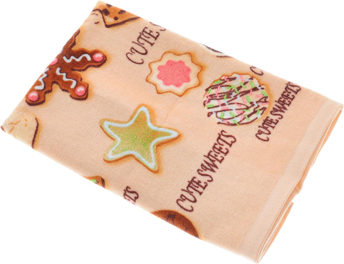 Полотенце кухонное Soavita Печенье, цвет: бежевый, 40 х 60 см полотенце кухонное soavita ку ка ре ку цвет фисташковый 40 х 60 см