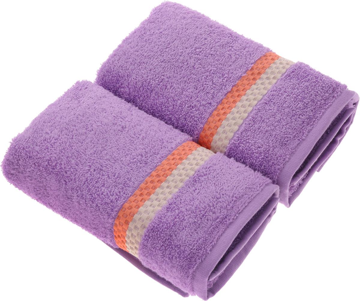 Набор полотенец Aquarelle Глициния, цвет: аметистовый, 50 х 90 см, 2 шт полотенца нордтекс полотенце aquarelle палитра аметистовый 70 130 см