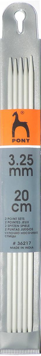 Фото - Спицы чулочные Pony, диаметр 3,25 мм, длина 20 см, 5 шт спицы прямые gamma металлические диаметр 5 мм длина 20 см 5 шт