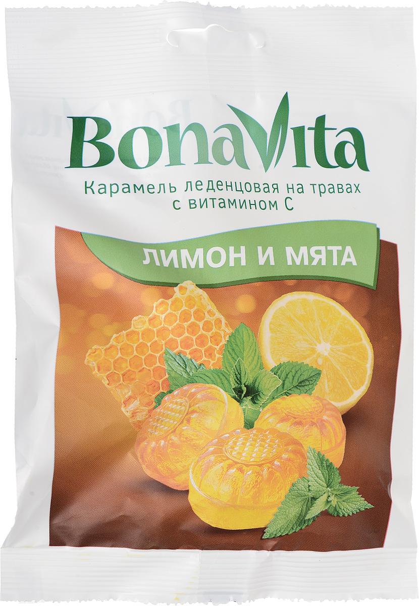 Bona Vita Карамель леденцовая Лимон и мята с витамином С на травах, 60 г актифрут карамель леденцовая лимон мята 60 г