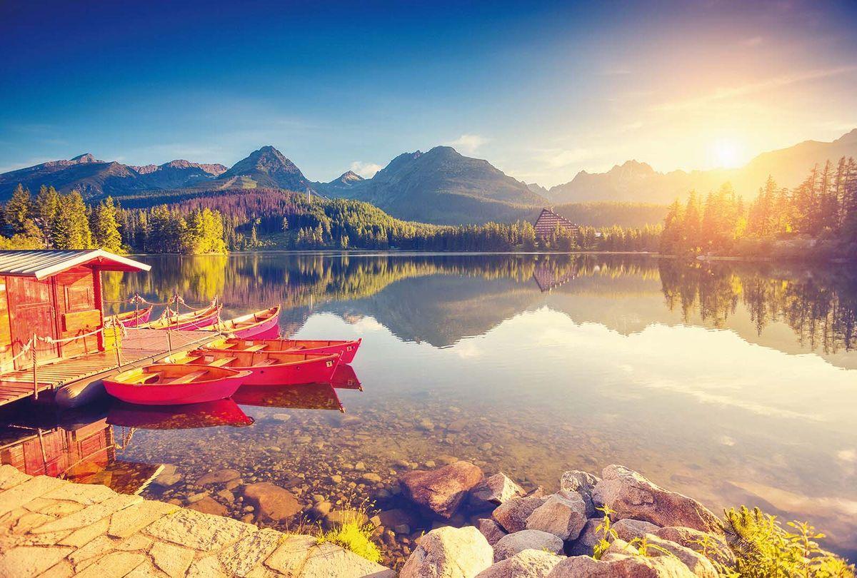 Фотообои Milan Рассвет на горном озере, текстурные, 400 х 270 см. M 409 фотообои milan ракушка текстурные 100 х 270 см m 120