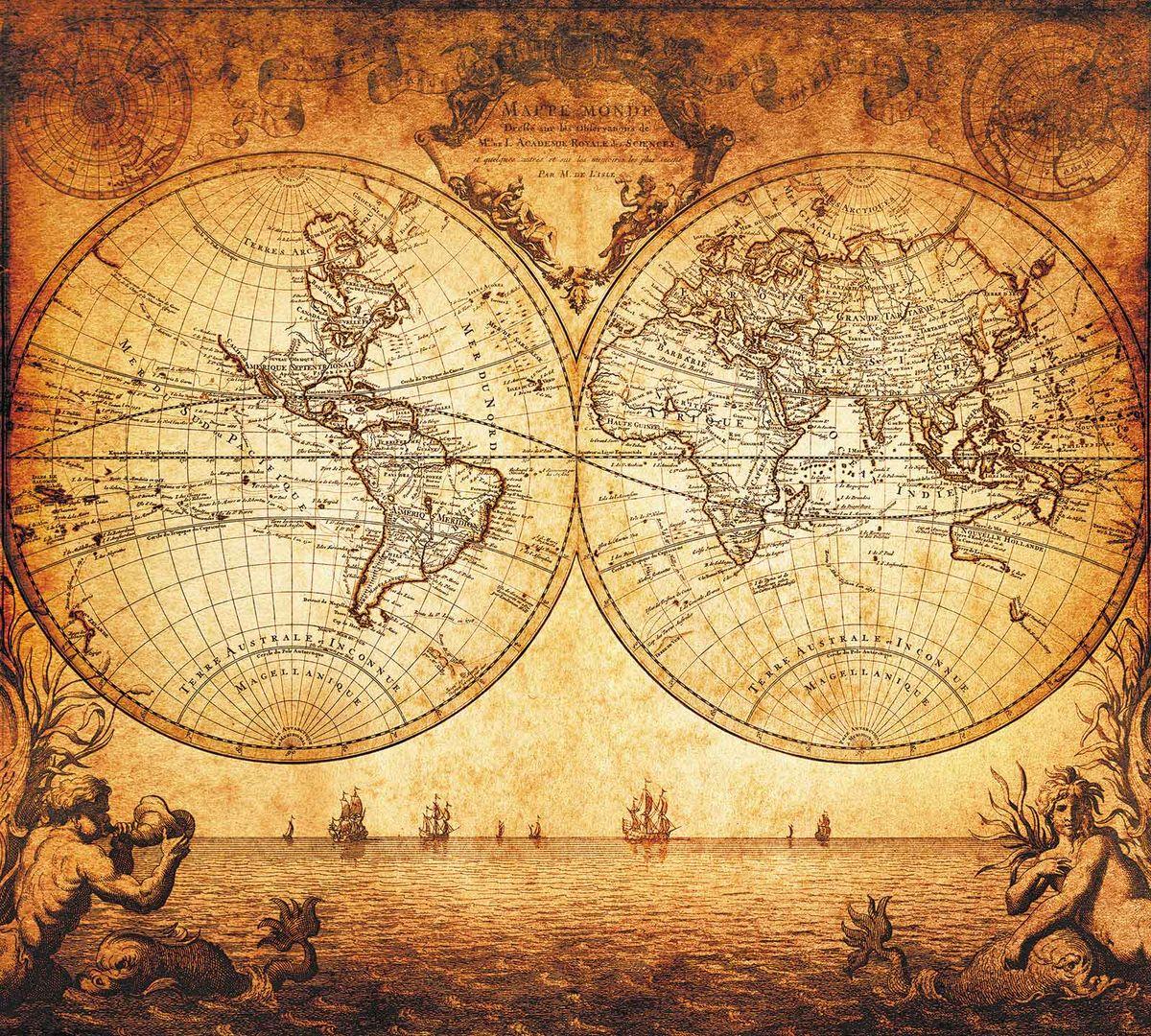 Фотообои Milan Старинная карта, текстурные, 200 х 180 см. M 510 фотообои milan текстура дерева текстурные 200 х 135 см m 622