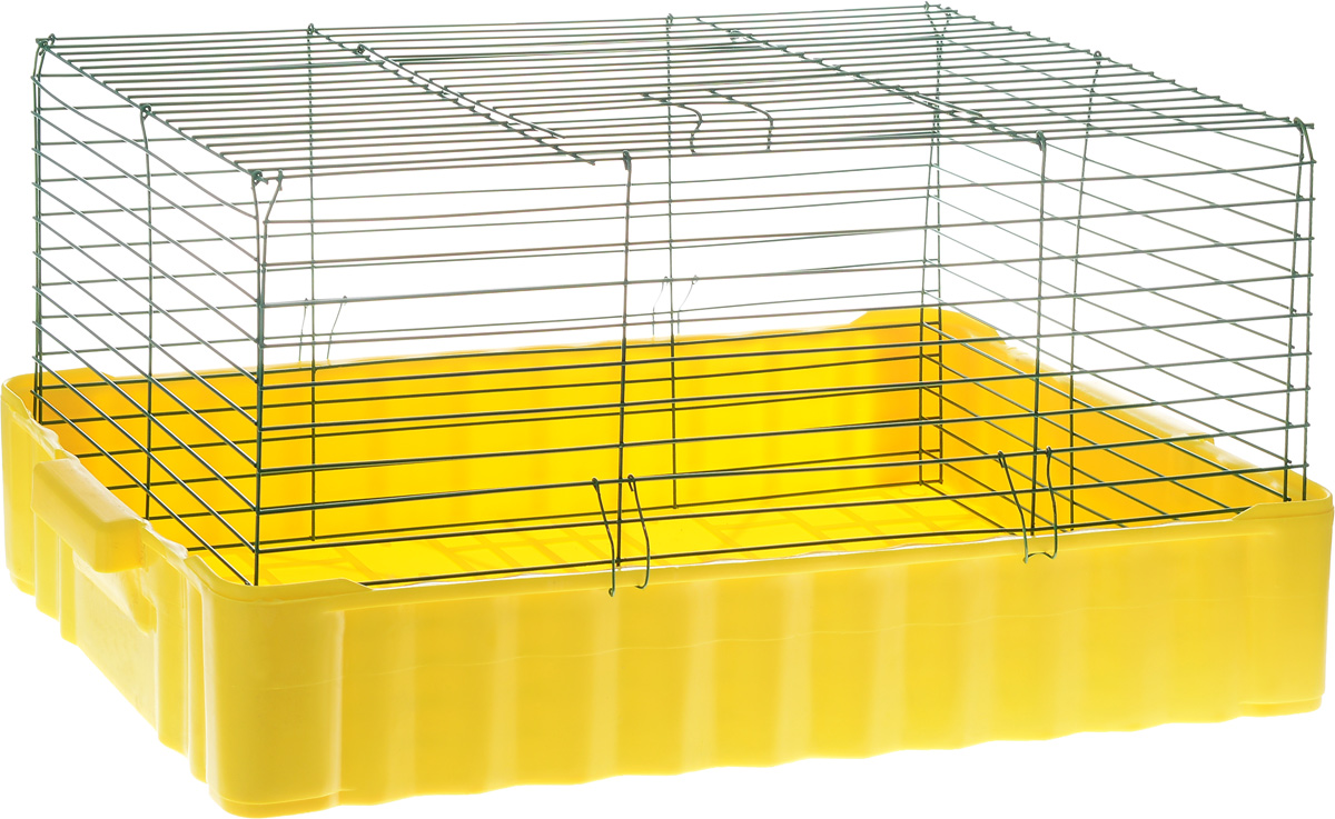 Клетка для кролика ЗооМарк, цвет: желтый поддон, зеленая решетка, 79 х 47 х 48 см цена