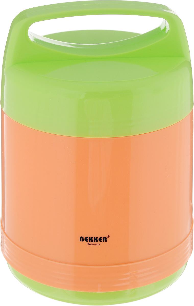 Термос Bekker Koch, с контейнерами, цвет: оранжевый, салатовый, 1 л автохимия koch москва