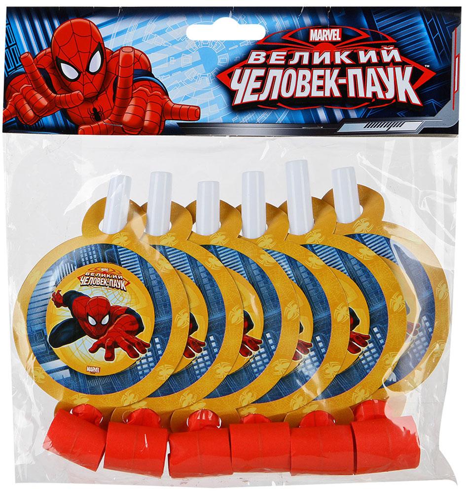 Веселая затея Язык-гудок с карточкой Великий Человек-паук 6 шт цены
