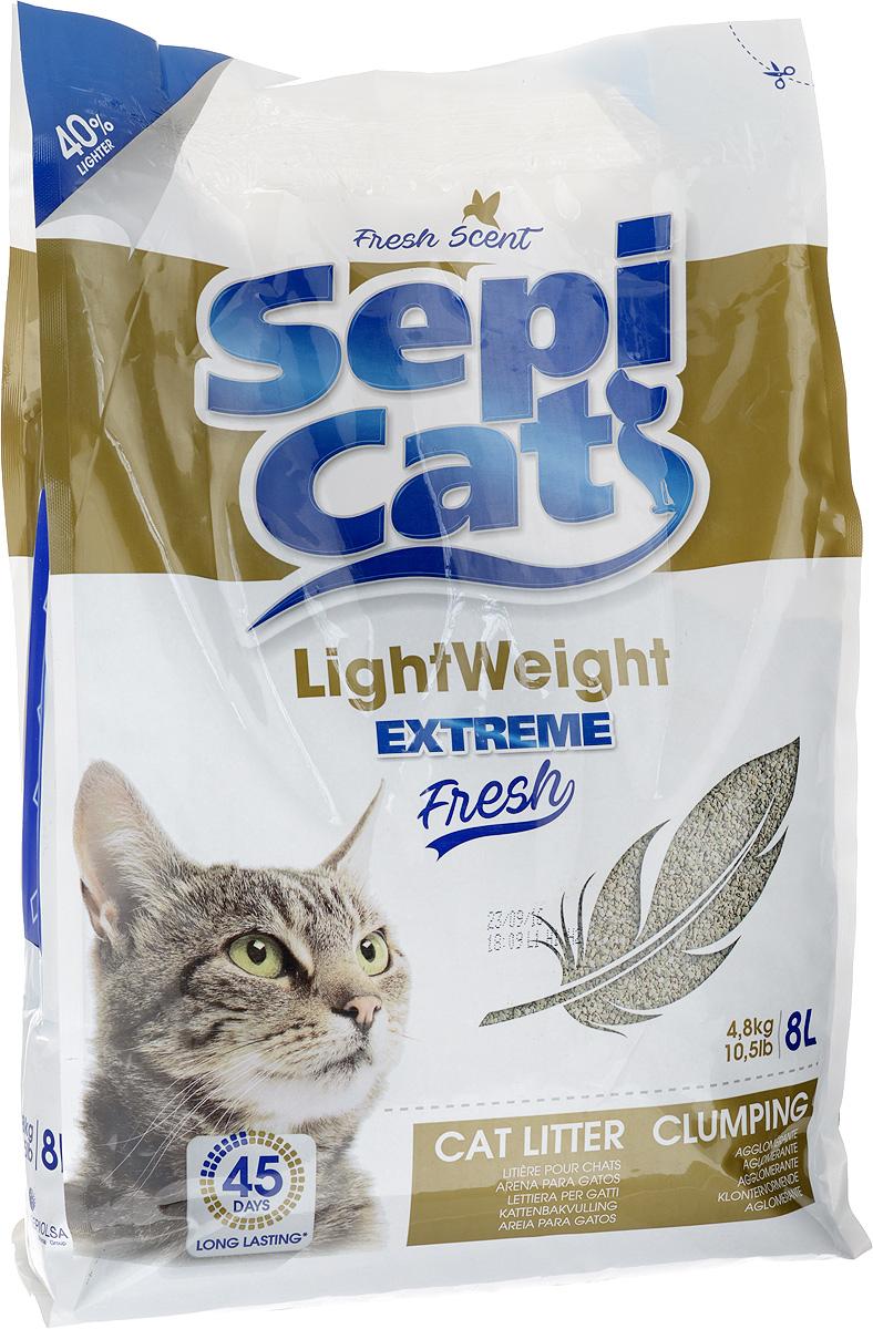 Наполнитель для кошачьих туалетов SepiCat LightWeight, комкующийся, облегченный, экстра, 8 л наполнитель для кошачьих туалетов canada litter запах на замке комкующийся с ароматом детской присыпки 6 кг