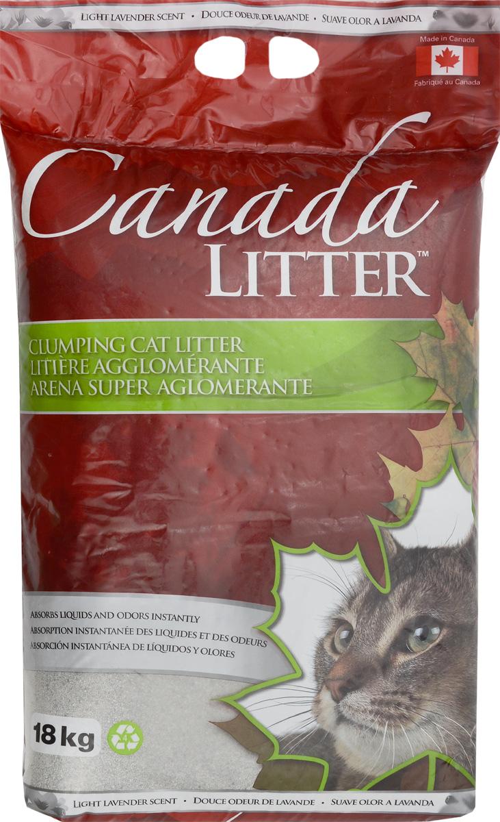 Наполнитель для кошачьих туалетов Canada Litter Запах на Замке, комкующийся, с ароматом лаванды, 18 кг наполнитель для кошачьих туалетов canada litter запах на замке комкующийся с ароматом детской присыпки 6 кг