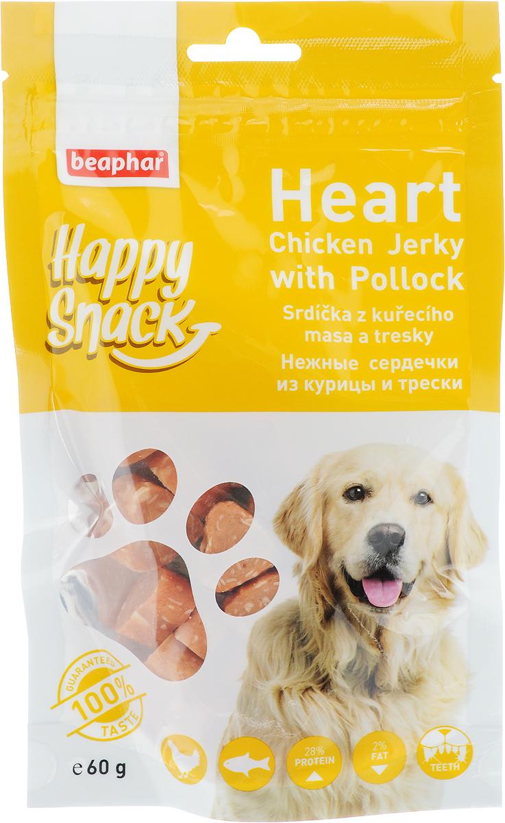 Лакомство для собак Beaphar Happy Snack, нежные сердечки из курицы и трески, 60 г bosch лакомство bosch country meat snack для собак с индейкой 80 г