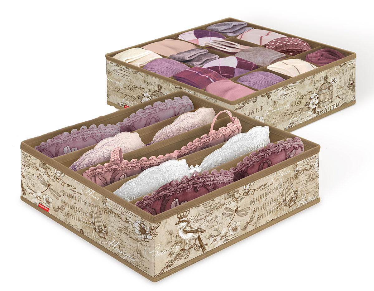 Набор органайзеров для белья Valiant Vintage, 32 x 32 x 10 см, 2 шт набор органайзеров valiant vintage цвет бежевый 18 x 12 x 5 см 12 x 12 x 5 см vn s2p