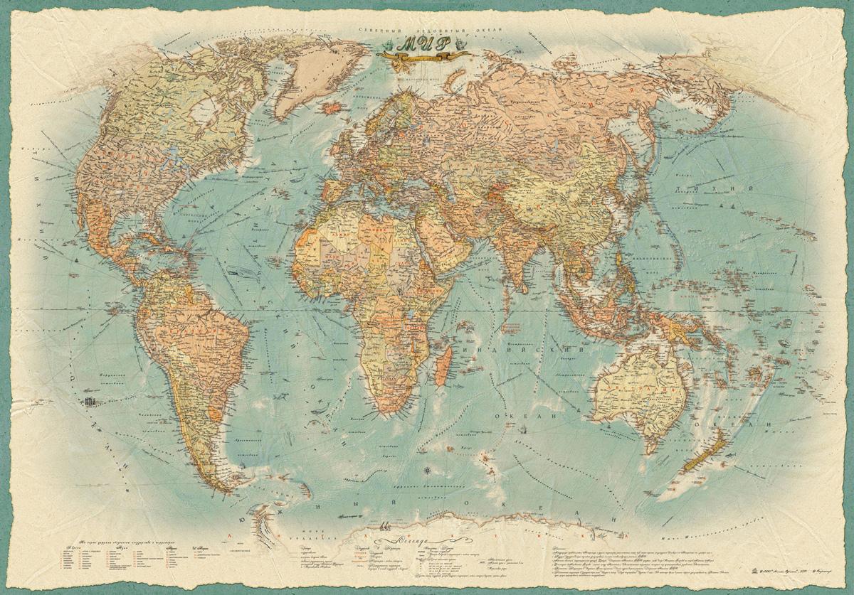 7adb0729af3d1 Политическая карта Мира в стиле ретро — купить в интернет-магазине OZON с быстрой  доставкой