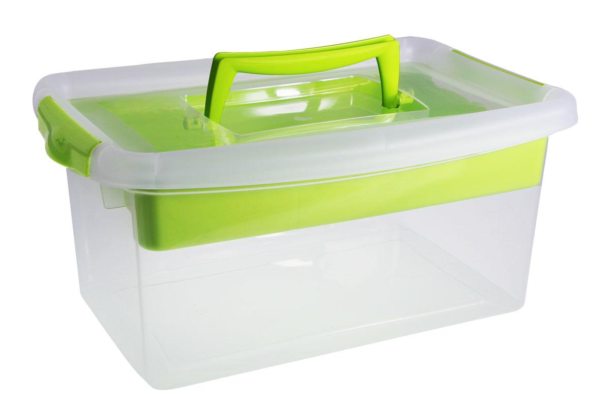 Контейнер для хранения Idea, с вкладышем, цвет: салатовый, 29 x 13 x 18 см контейнер для хранения idea прямоугольный цвет салатовый прозрачный 8 5 л
