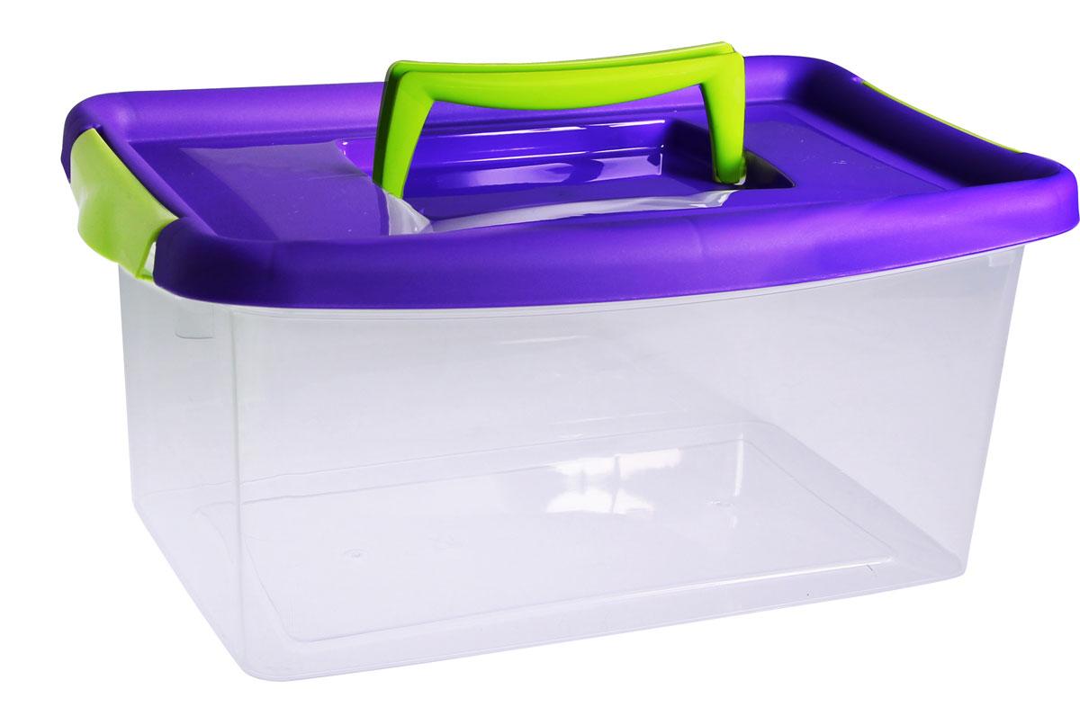 Контейнер для хранения Idea, цвет: прозрачный, фиолетовый, 4 л мир детства контейнер для прикорма цвет розовый фиолетовый