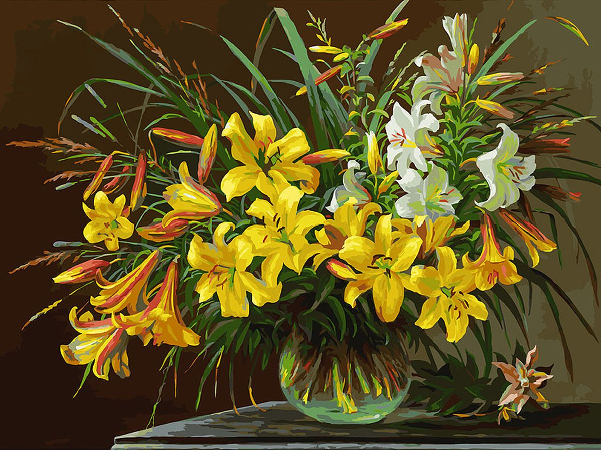 Живопись на холсте Белоснежка Золотая лилия, 30 х 40 см набор для творчества белоснежка живопись на холсте 30 40см щенки на поляне