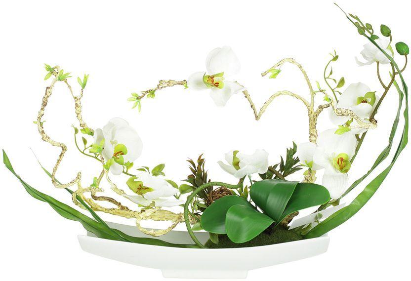 """Цветы декоративные Dream Garden """"Орхидея белая"""", на подставке, 38 х 14 х 31см. DG-15006-AL"""