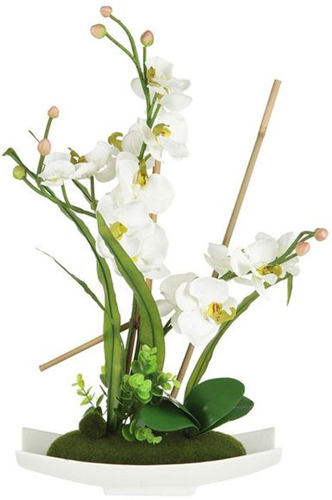 """Декоративные цветы Dream Garden """"Орхидея белая"""", на подставке, 34,5 х 13 х 56 см. DG-15025-AL"""