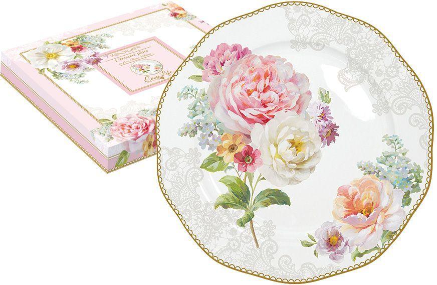 Тарелка десертная Nuova R2S Цветочная романтика, диаметр 20 см настольная подложка nuova r2s s p a