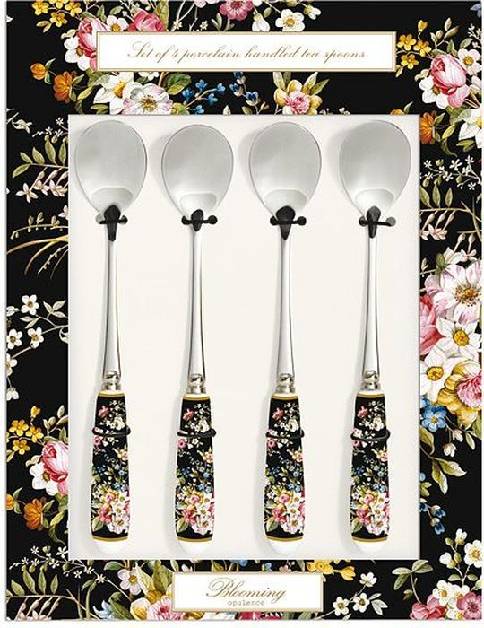 Набор чайных ложек Nuova R2S Цветочный карнавал, цвет: черный, 4 шт nuova r2s набор тарелок 4шт 19см