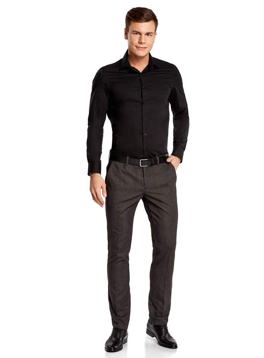 Рубашка мужская oodji Basic, цвет: черный. 3B140000M/34146N/2900N. Размер 37-182 (42-182) брюки мужские oodji basic цвет темно синий 2b120010m 39622n 7900n размер 40 182 48 182