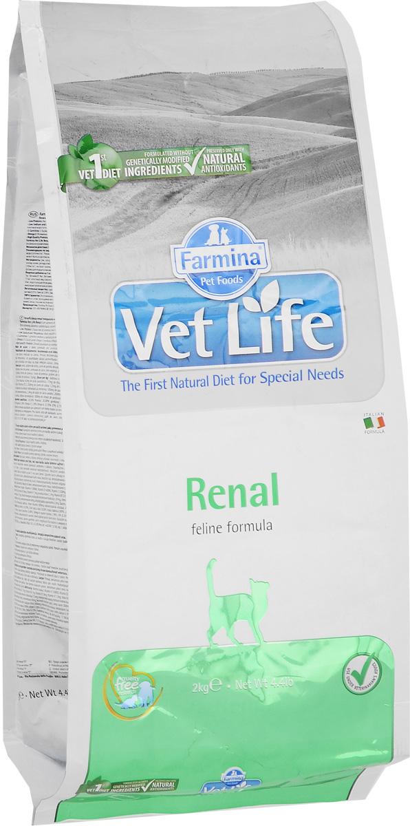 Корм сухой Farmina Vet Life для кошек, для поддержания функции почек при почечной недостаточности, диетический, 2 кг корм сухой farmina vet life для кошек для поддержания функции почек при почечной недостаточности диетический 400 г
