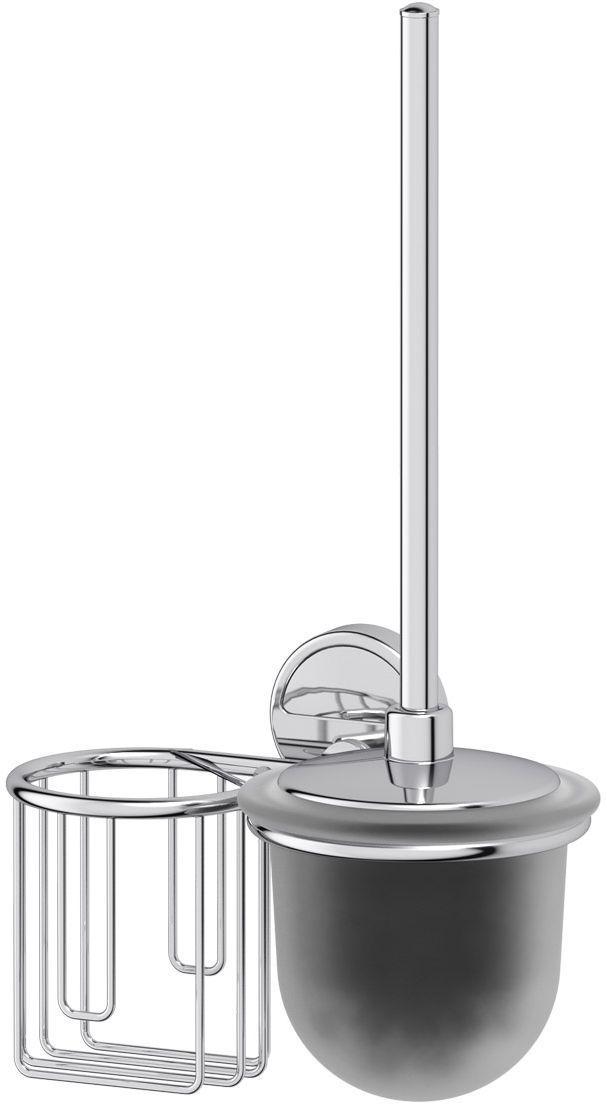 Держатель освежителя воздуха с туалетным ершом с крышкой FBS Luxia, цвет: хром. LUX 058 держатель освежителя воздуха с туалетным ершом с крышкой fbs luxia lux 058