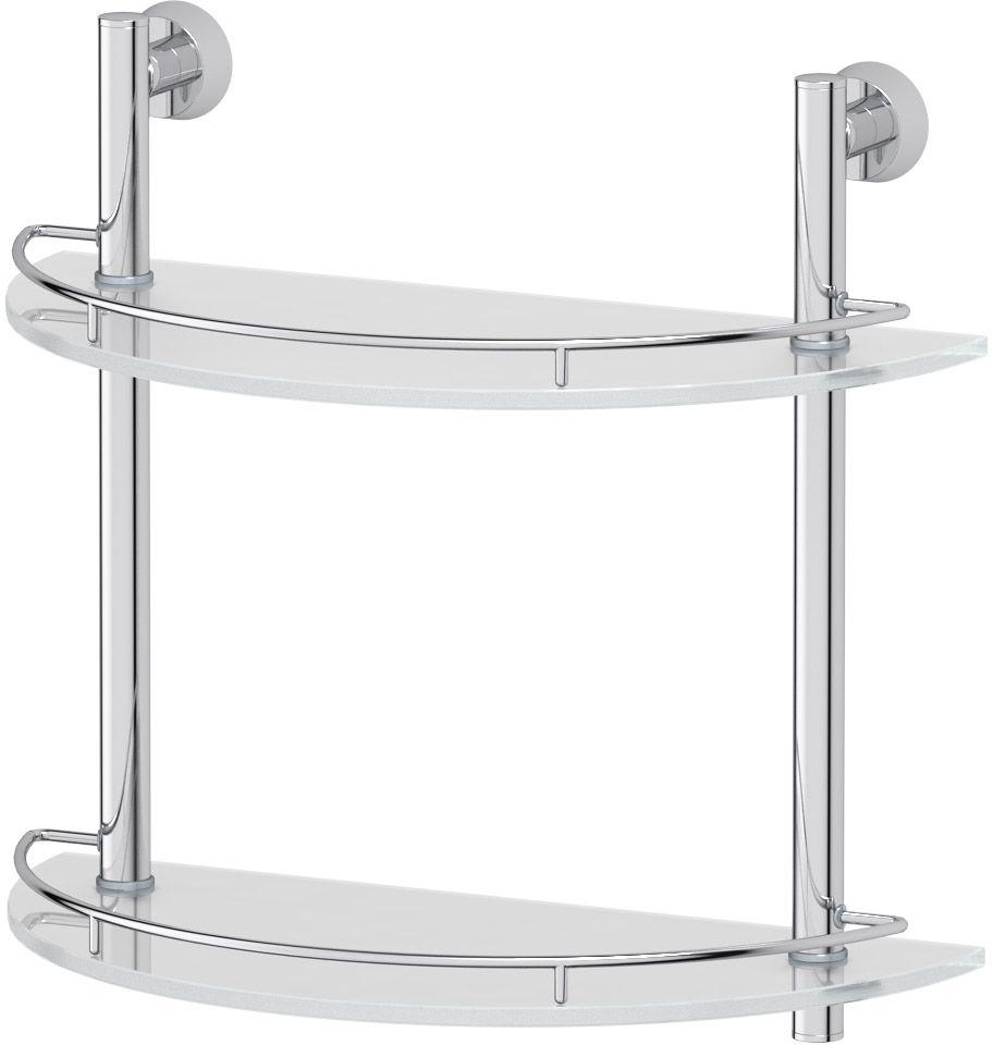 "Полка для ванной комнаты FBS ""Vizovice"", 2-х ярусная, 40 см, цвет: хром. VIZ 081"