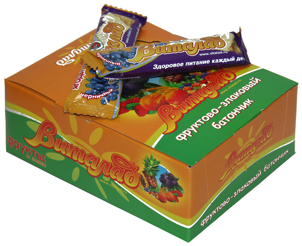 Виталад Черничный злаковый батончик, 24 шт по 40 г4601772000210В составе хлопья 4-х зерновые (овсяные, ржаные, пшеничные, ячменные). Баланс витаминов и микроэлементов. Без сахара.
