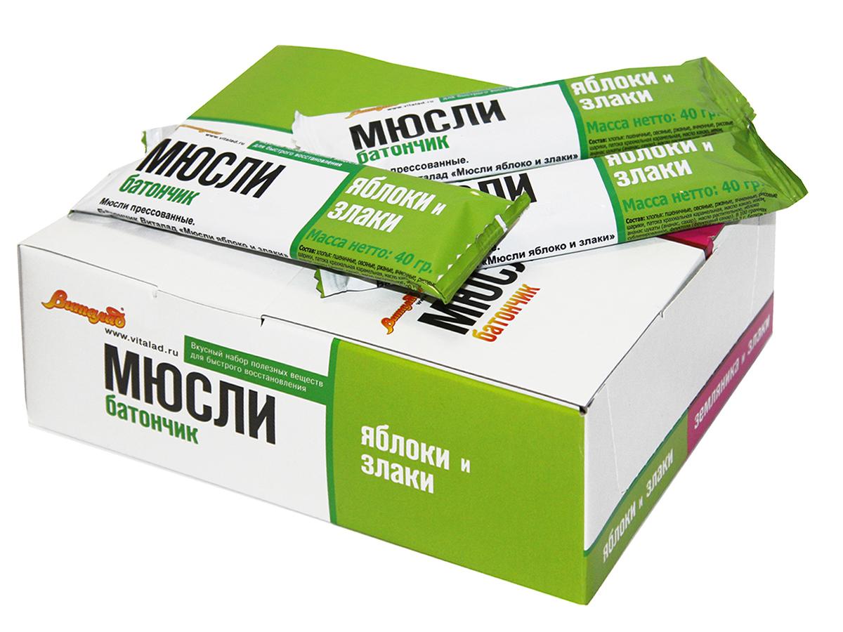 Виталад Яблоко и злаки мюсли батончик, 24 шт по 40 г русский продукт желе зеленое яблоко 35 шт по 50 г