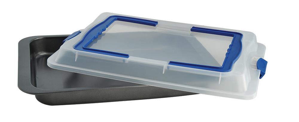 Противень Regent Inox Easy, с пластиковой крышкой, с антипригарным покрытием, 37 x 25 x 5,5 см противень глубокий с пластиковой крышкой 42х29х5 см regent easy 93 cs ea 2 08