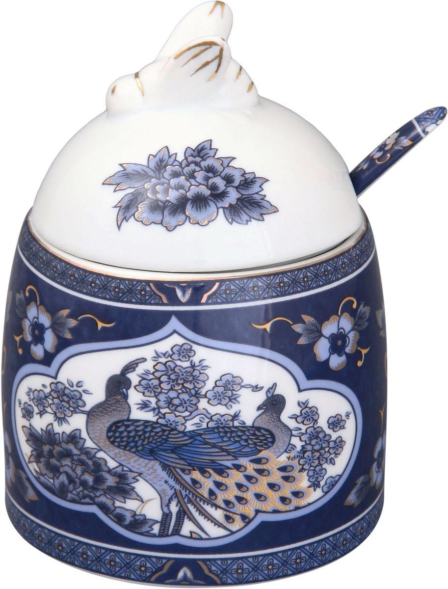 Горшочек для меда Elan Gallery Павлин синий, с ложкой, 300 мл горшочек для меда elan gallery пчелки на сотах 300 мл