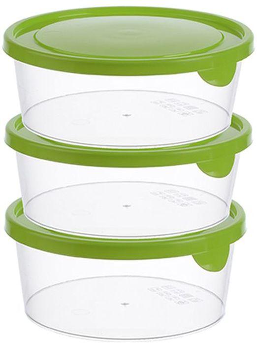 Набор контейнеров Idea, круглые, цвет: салатовый, 0,5 л, 3 шт набор контейнеров 3 шт comboez набор контейнеров 3 шт