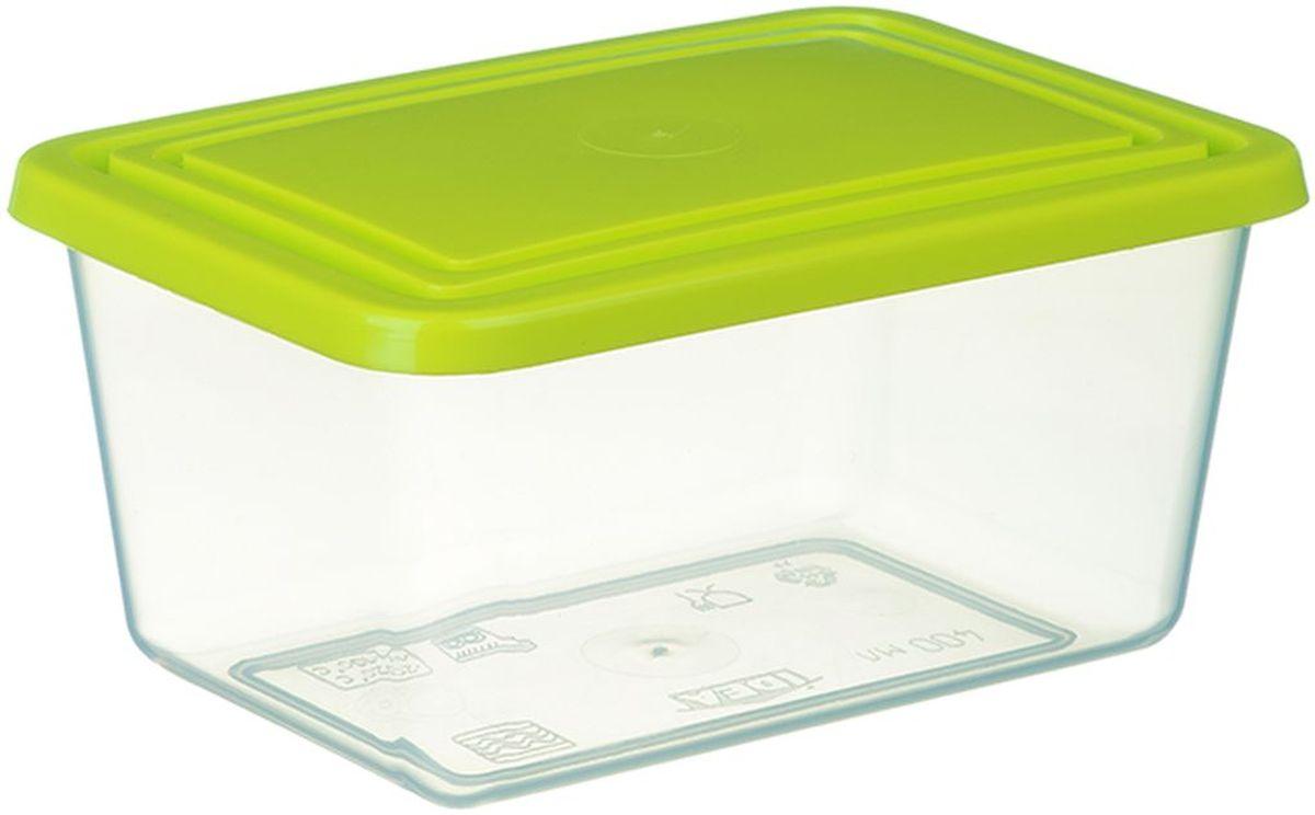 Контейнер пищевой Idea, цвет: прозрачный, салатовый, 2 л контейнер для хранения idea прямоугольный цвет салатовый прозрачный 8 5 л