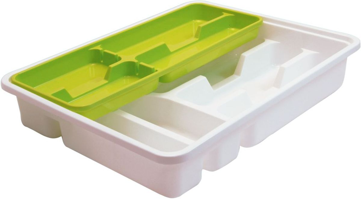 Лоток-вкладыш для столовых приборов Idea, двухуровневый, цвет: салатовый цена