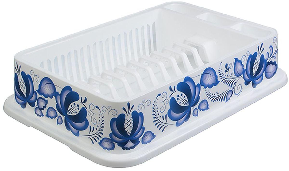 """Сушилка для посуды Idea """"Деко. Гжель"""", с поддоном, 42,5 x 28,5 x 9,5 см"""